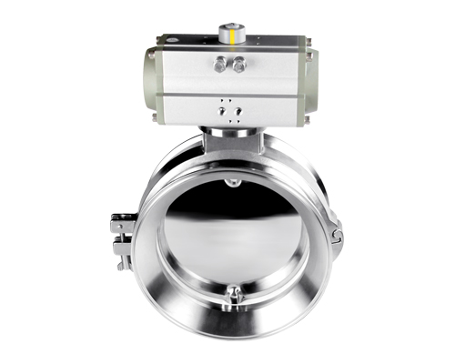 Horizontal pneumatic powder butterfly valve