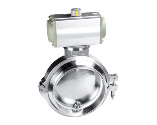 Powder tank bottom butterfly valve